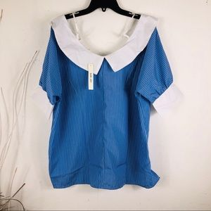SAN JOY COLLAR BLOUSE BLUE AND WHITE STRIPED